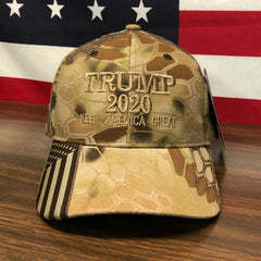 Trump 2020 American Flag Kryptek Highlander Hat Keep America Great MAGA Camo Hat