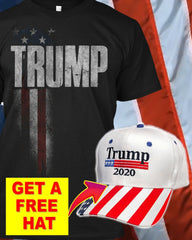 President Donald Trump American Flag T-Shirt ( Free Trump Hat )