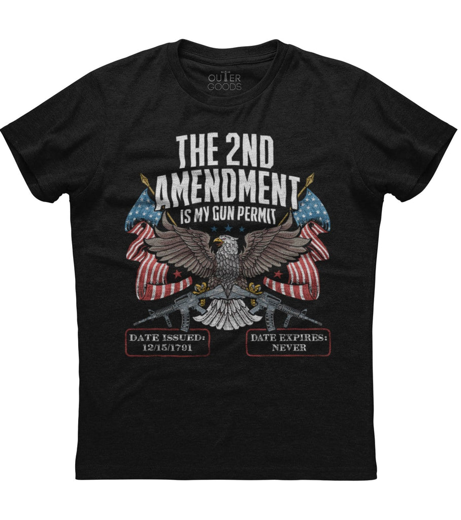 2nd Amendment Is My Gun Permit Will Never Expire T-Shirt (O)