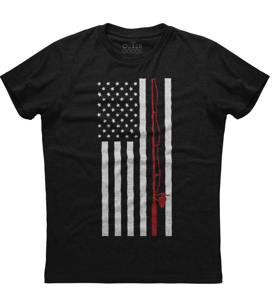 Fishing Rod American Flag T-shirt (O)