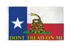 Don't Tread on Me (Texas) Gadsden Flag 3x5ft Poly