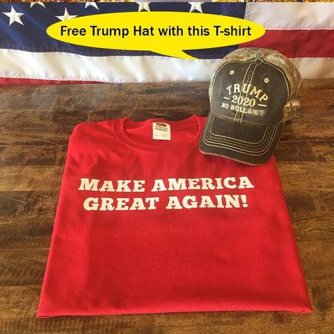 Make America Great Again T-Shirt ( Free Trump Hat )