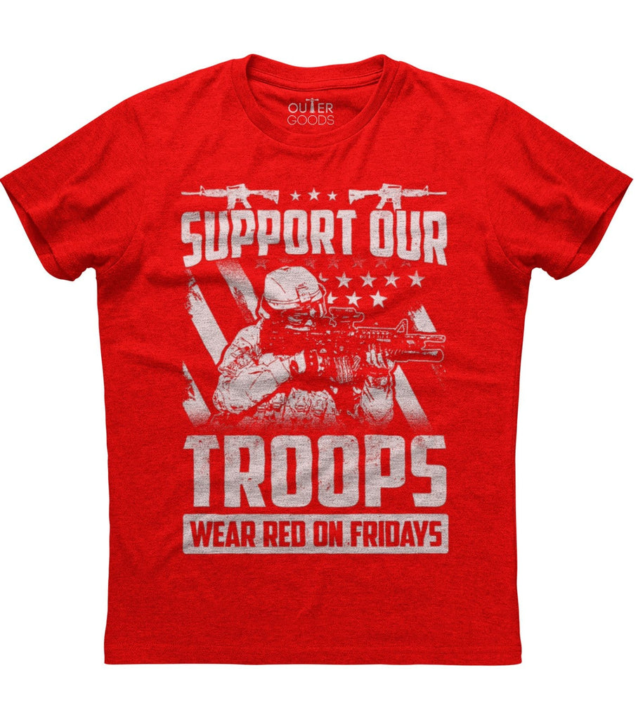 America Supports The Troops Deployed Patriotic T-Shirt (O)