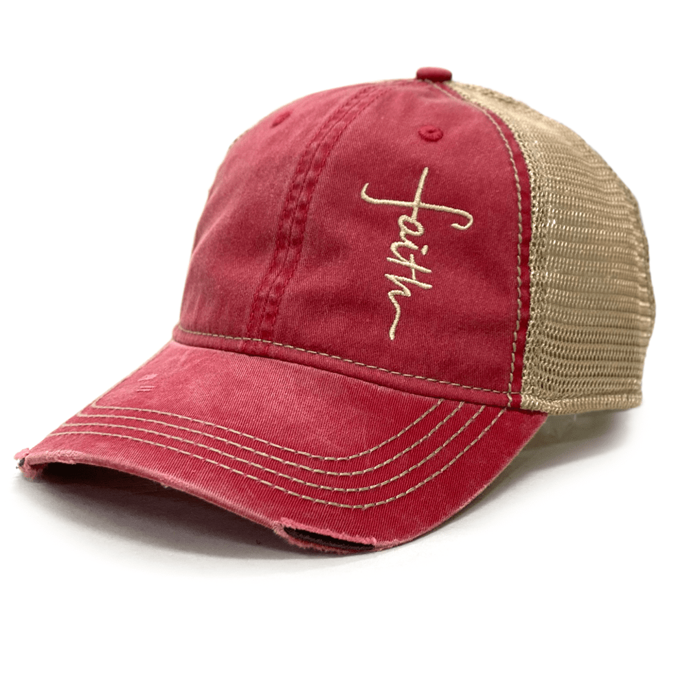 Red Distressed Faith Cross Hat (O)