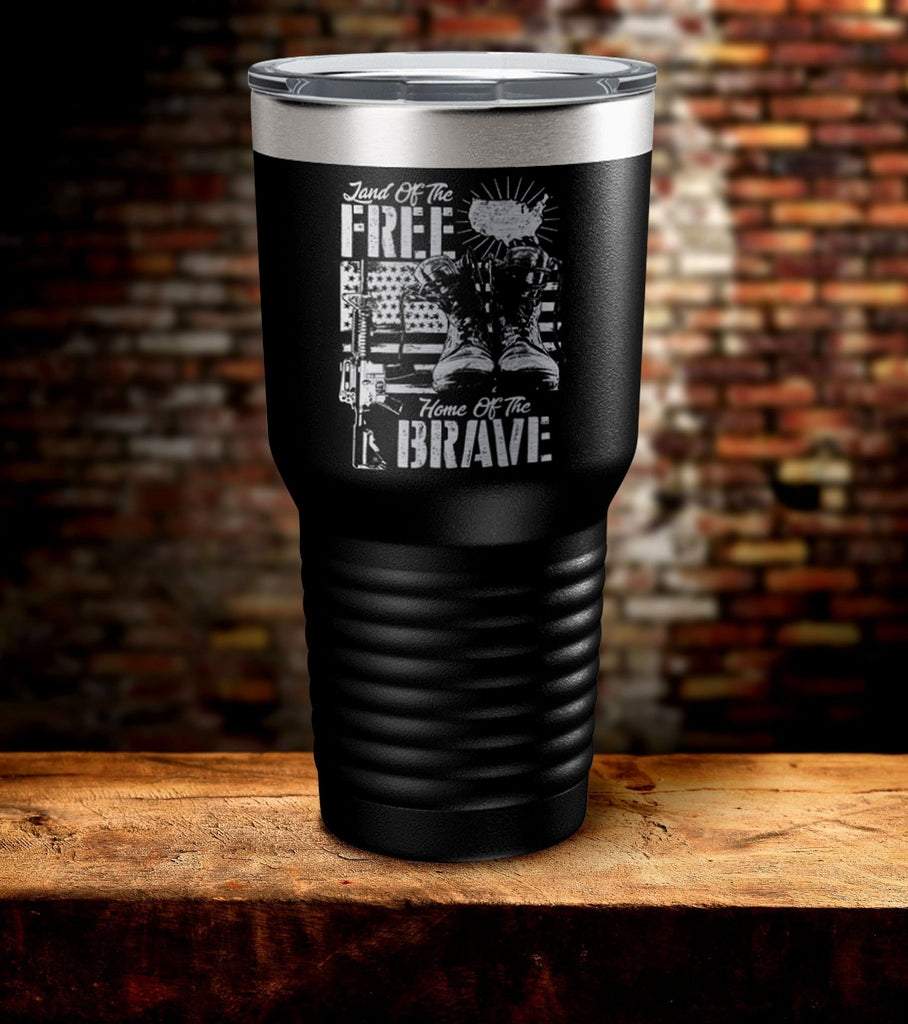 Land Of Free Home Of The Brave Tumbler (O)