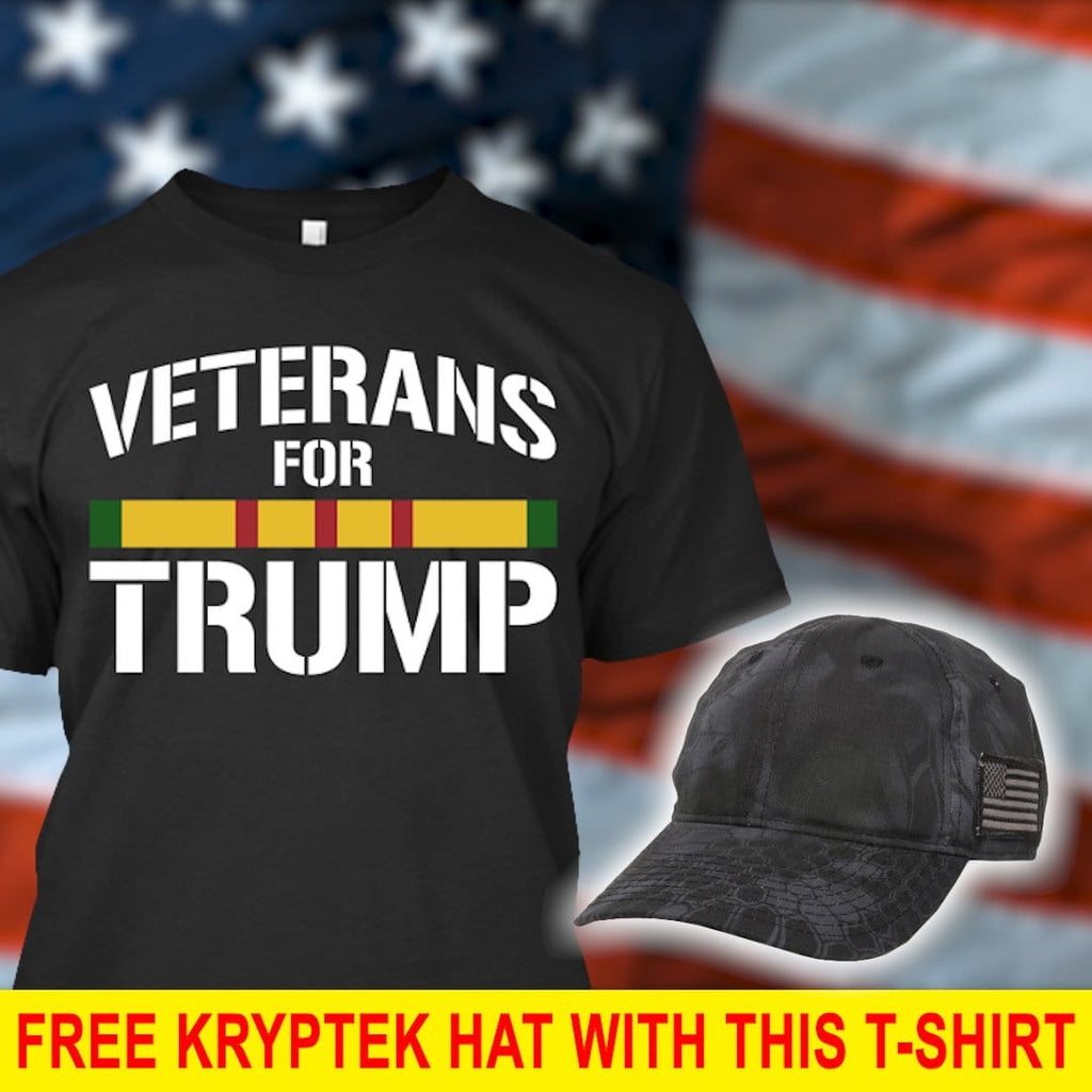 Vietnam War Veterans For Donald Trump T-Shirt ( Free Kryptek Hat )