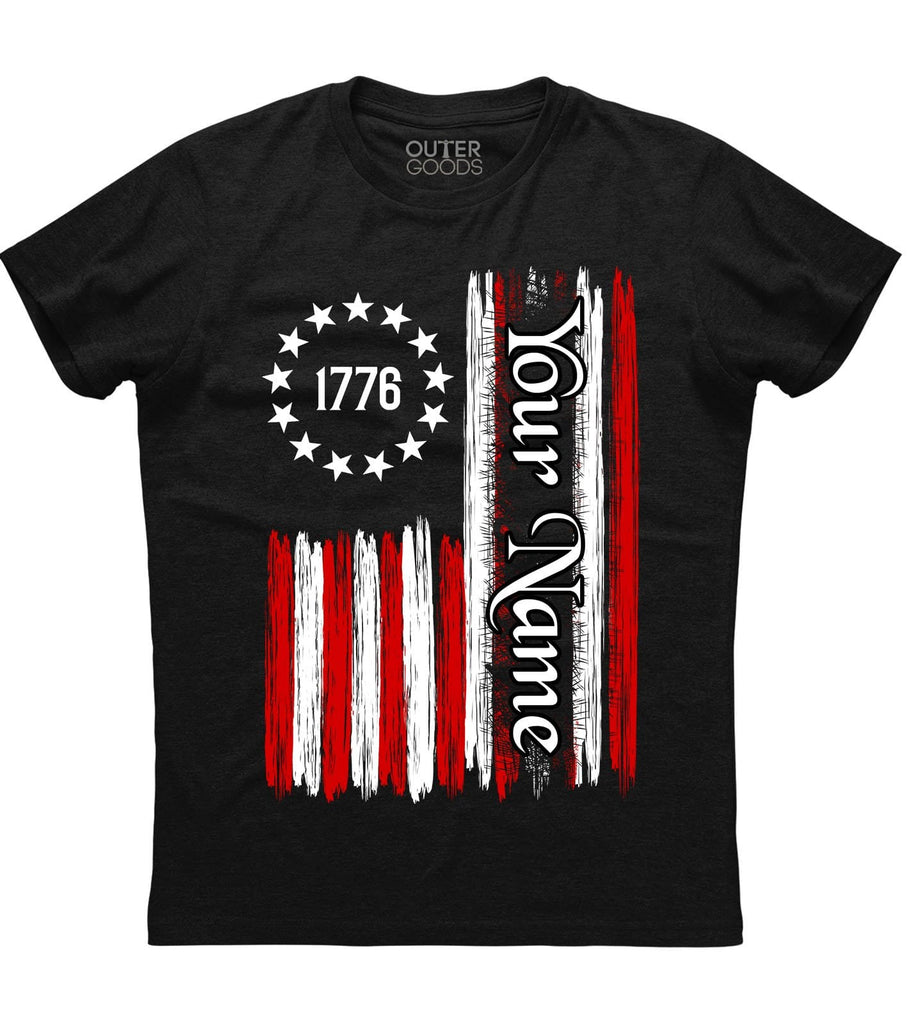 1776 American Flag Custom Name T-Shirt (CN) (O)