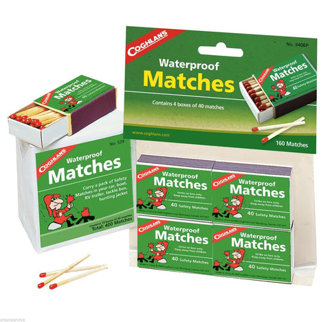 Waterproof Matches 10 Boxes of 40+ Over 400 Matches