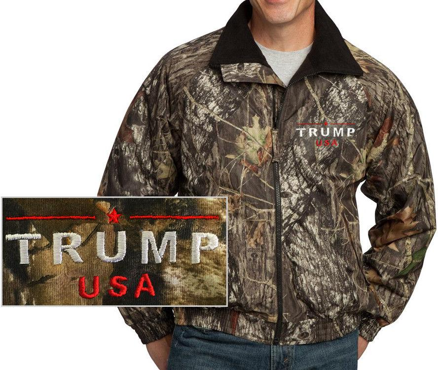 Donald Trump USA Embroidered Waterproof Mossy Oak Jacket