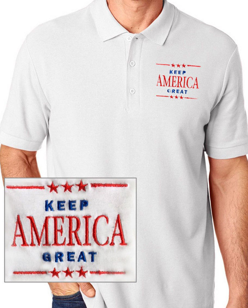 Donald Trump Keep America Great Embroidered White Polo
