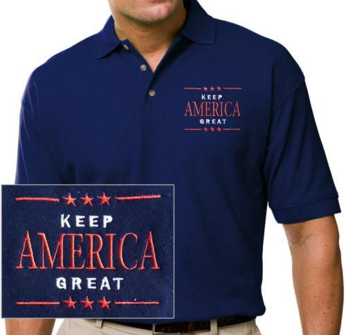 Donald Trump 2020 Keep America Great Embroidered Blue Polo