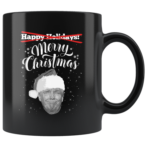 Donald Trump Merry Christmas Black Mug