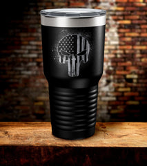 Punisher Skull American Flag Tumbler