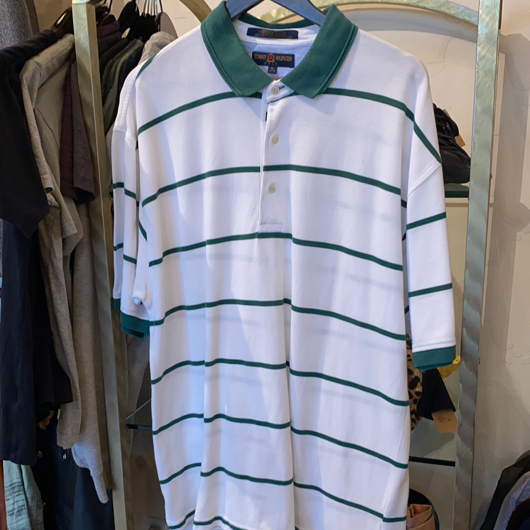 Tommy Hilfiger white polo w/ green stripes & collar