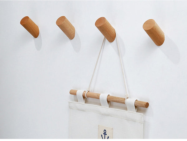Natural Wood Clothes Hanger Wall Mounted Coat Hook Decorative Key Holder Hat Scarf Handbag Storage Hanger Bathroom Rack