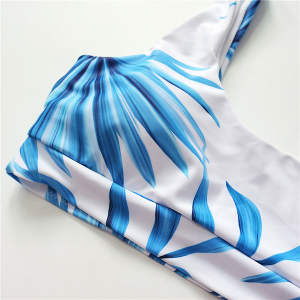 Scoop Neck White Tropical Palm Leaf High Waist Bikini Bathing Suit Swimsuit
