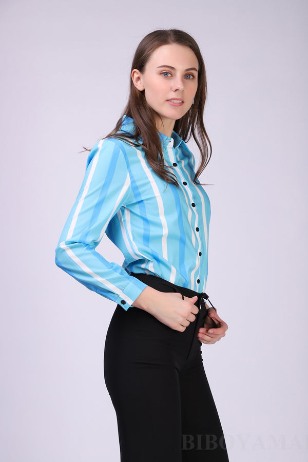 Women Chiffon Office Career Shirts Tops Casual Long Sleeve Blouse