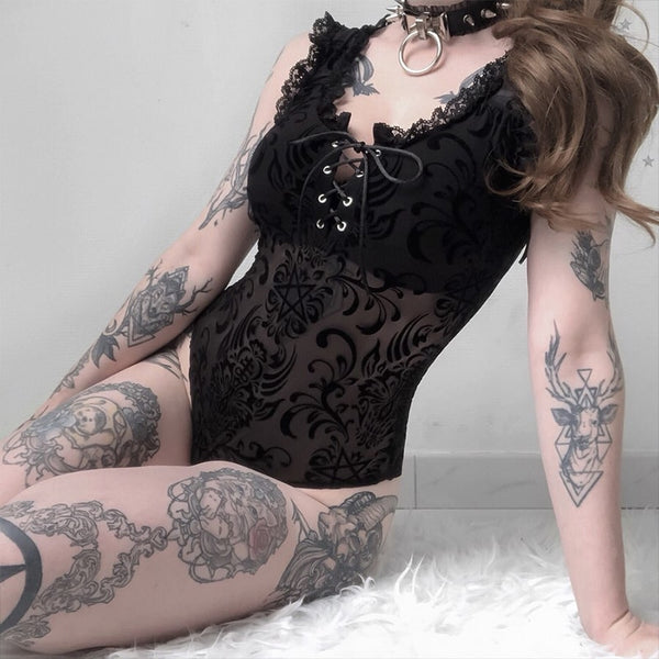 Sexy Lace Bodycon Bodysuit Women Gothic Streetwear Mesh Hollow Out Patchwork Sleeveless Bodysuit