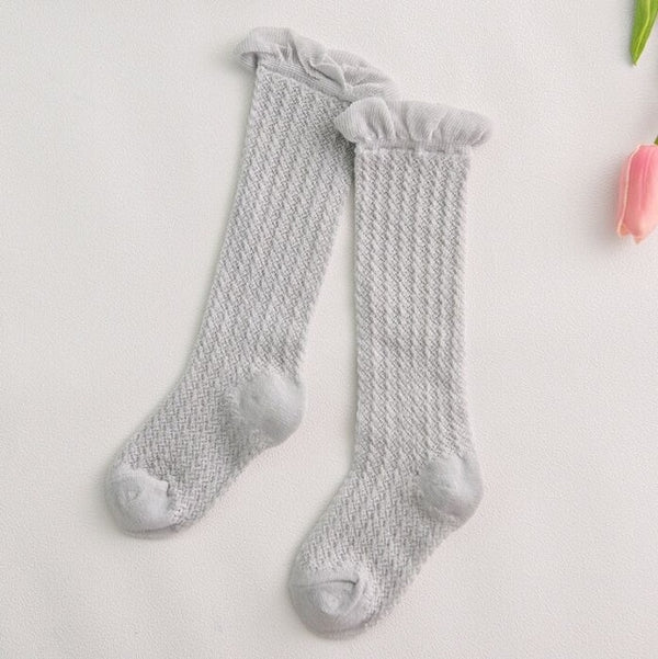 Sweet Newborn Baby Girl Socks Cotton Summer Infant Baby Knee High Socks for 0-6 Years 1 Pair Mesh breathable Socks Cotton New
