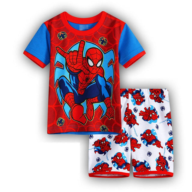 Kids Cartoon Pajamas Summer Cotton  Boys Girls Short Sleeve Superhero Character Print
