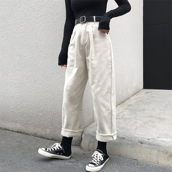 Loose High Waist Thin Pants Girls Casual