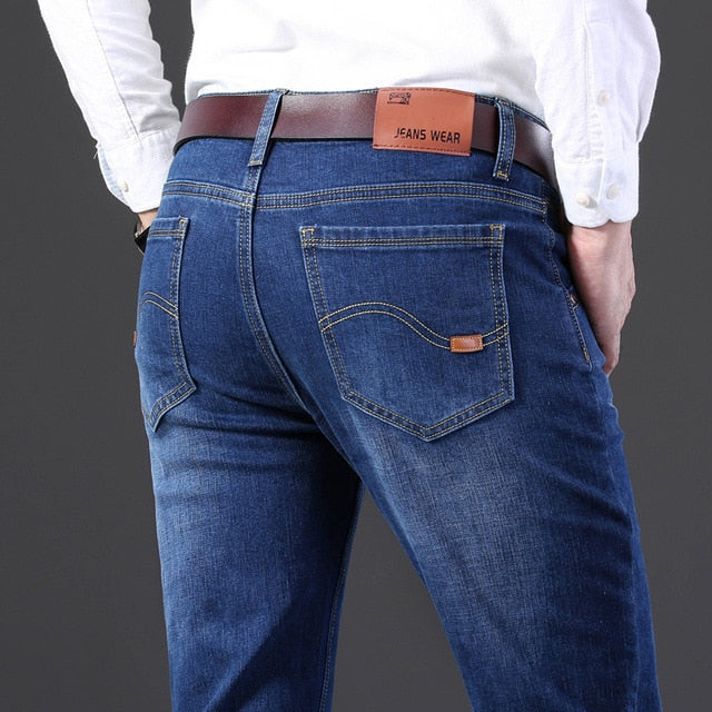 Jeans Men Casual Slim Stretch Jeans Classic Denim Pants Trousers Plus Size 28-40 High Quality