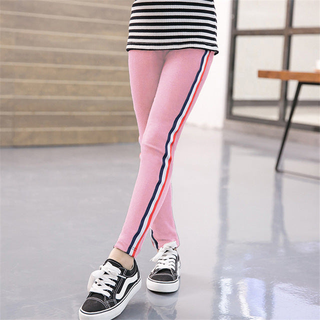 Stretchy Pants Trousers Girl Leggings Sports Stripe Leggings for Girls 3-12 Years Old