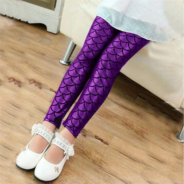 Mermaid Leggings Girls Pants Kids Girl Colorful Shiny Scale Pants Slim Trousers