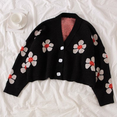 Flower Print Knitted Doat Loose Retro V-neck Cute Ligh Cardigan Cotton