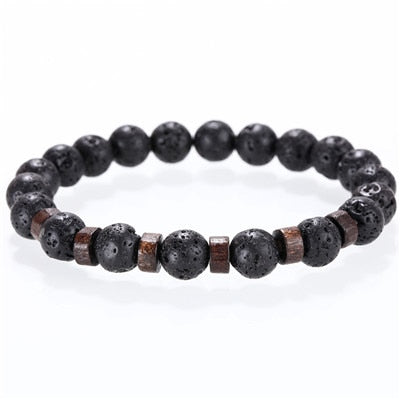 Stone bracelet beads lava natural homme fashion bangles Bracelet Men Wooden bead Accessorie Jewelry male Customized Gift