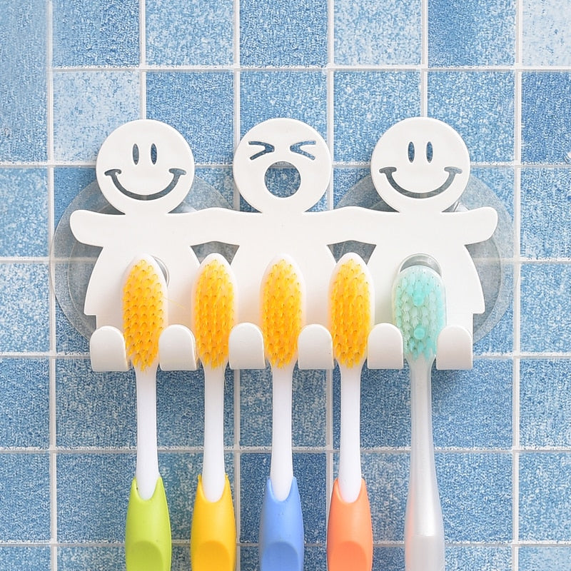 Suction 5 Position Toothbrush Holder Rack Wall Mount Funny Smiling Face Toothbrush Stand Organizer