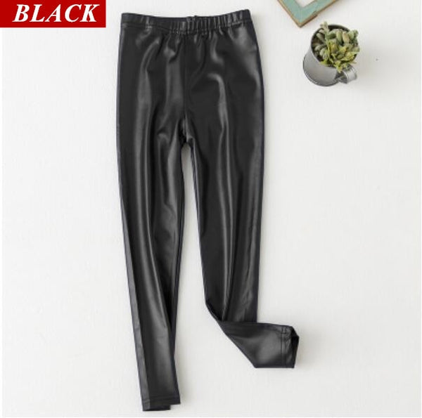 Legging Baby Girls Boys Skinny Pencil Pants Faux PU Leather Childrens Leggings Black Wine