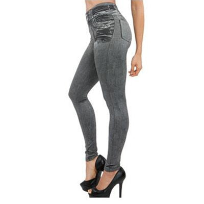 Women Fleece-lined Jeggings Jean Leggings Slim 2 Real Pockets Woman Fitness Casual Pants