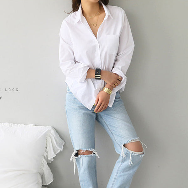 One Pocket Women White Shirt Female Blouse Tops Long Sleeve Casual Turn-down Collar OL Style Women Loose Blouses