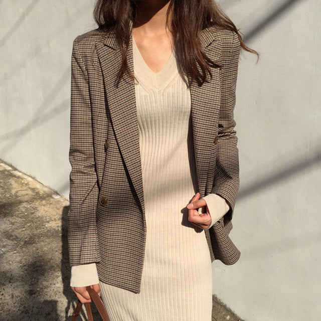 Vintage Double -Breasted Office Ladies Plaid Blazer  Suit Coat Jacket Women Long Sleeve Loose