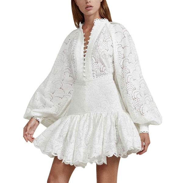 Hollow out Shirt Skirt Two Piece Sets Lantern Sleeve Blouse Tops Women High Waist Patchwork Lace