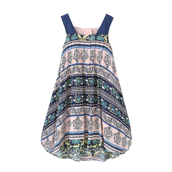 Girls Summer Dress Bohemian Style Printing Beach Dress Baby Girls Princess