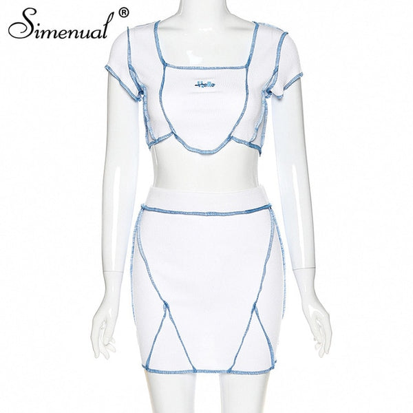 Simenual Casual Letter Embroidery Matching Set Women Short Sleeve Patchwork 2 Piece Outfits Workout Slim Crop Top And Skirt Sets