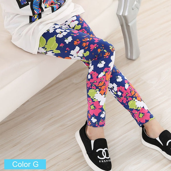 Printed Flower Toddler Classic Leggings Girls 2-14 Years Old
