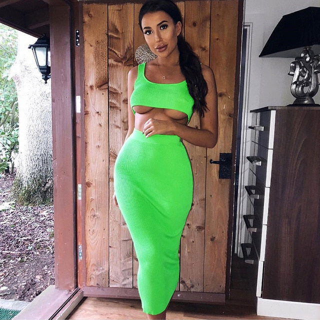 Neon ribbed knitted women two piece matching co ord set crop top midi skirt sexy festival party