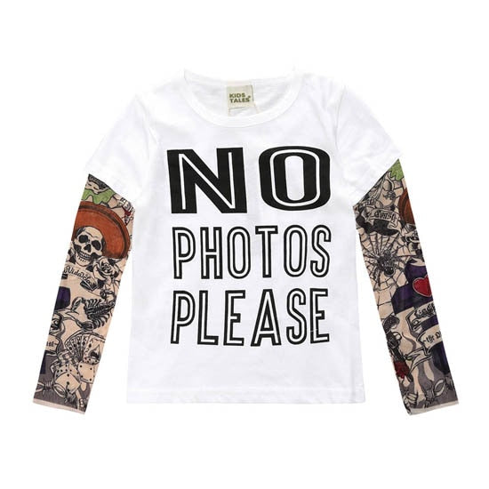 Novelty Tattoo Long Sleeve Children T-Shirts Cotton Boys Girls Tops 2-7 Years Children Clothes