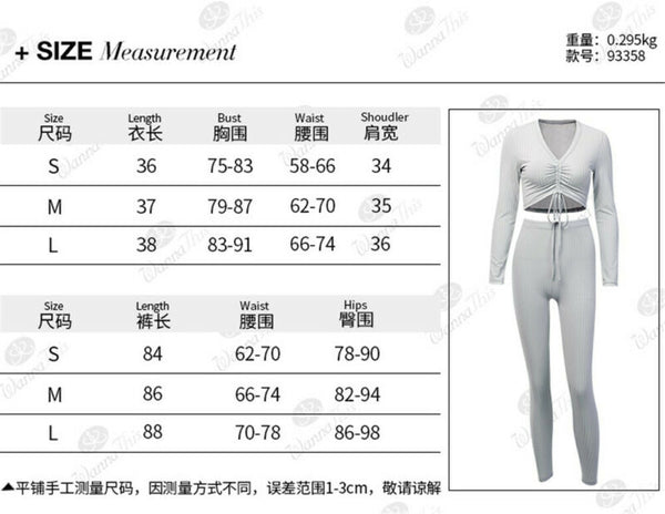 Knitted Lounge Wear Sets Two-Piece | Crop Top  Suit Ladies Casual Sety
