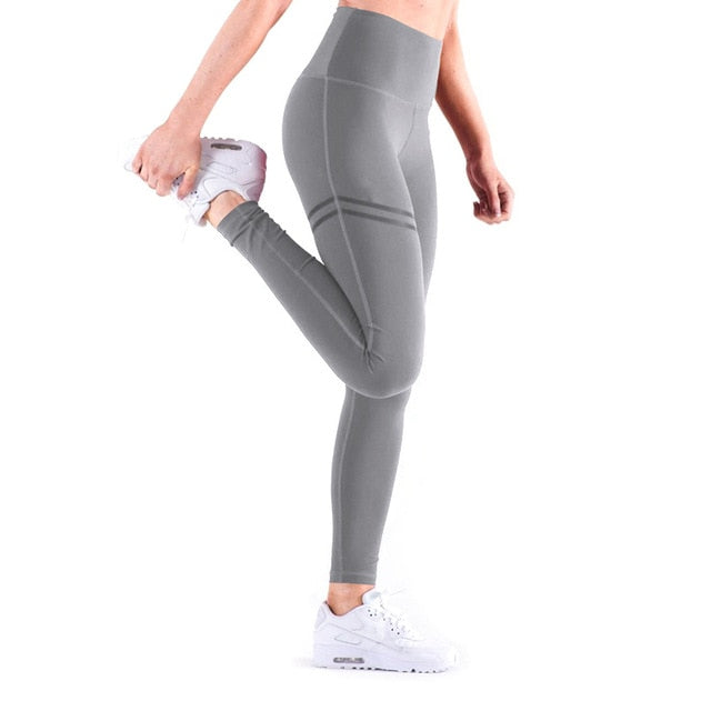 Gold Print Leggings No Transparent Exercise Fitness Leggings Push Up Workout Female Pants