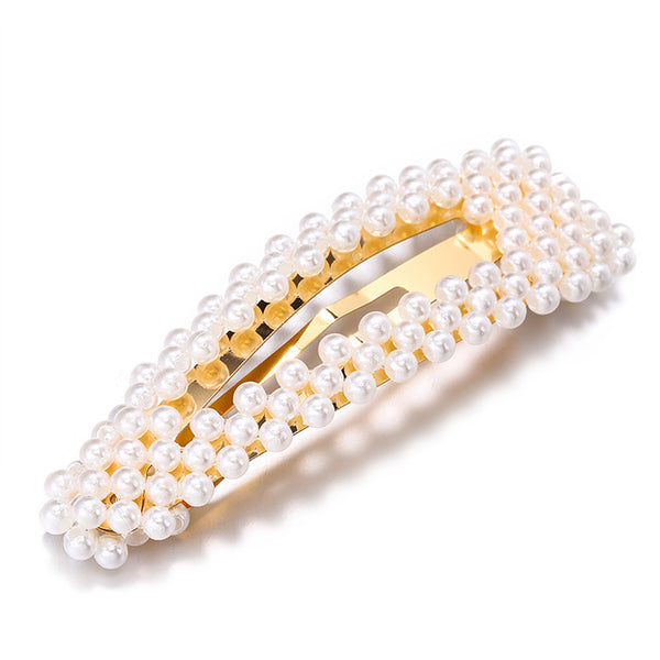 Pearl Hair Clip for Women Elegant Korean Design Snap Barrette Stick Hairpin Hair Styling Accessories Hair Pins