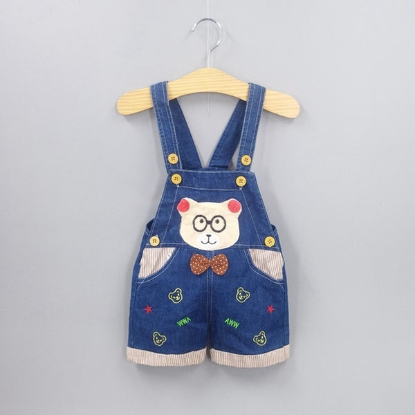 1 2 3T Baby Clothing Boys Girls Jeans Overalls Shorts Toddler Infant Denim Rompers Cute Cartoon Bebe Pants Summer Bib Clothes
