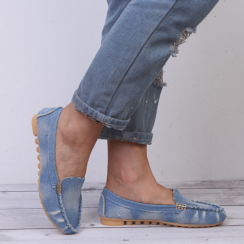 Casual Flats Shoes Loafer Women Jean Denim Fashion