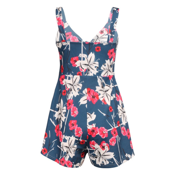 Printed Women's Romper Casual Loose Short Sleeve V-neck Beach Rompers Sleeveless Sexy Party Playsuit