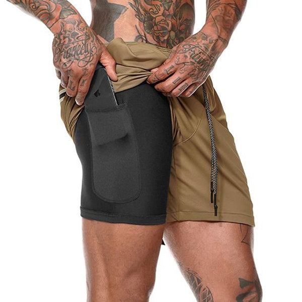 Mens Shorts 2 in 1 Workout Gym Fitness Body Building Quick Dry Beach