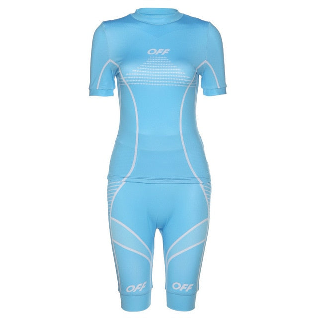 Two Piece Set Women Suits Ladies Pink Black Blue Fitness Tracksuit Shorts Top