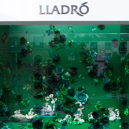 Summer window display for Lladro paper flowers